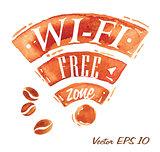 Set of Watercolor Coffee Wi-Fi