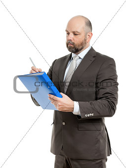 business man with blue folder
