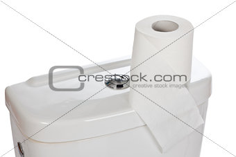 toilet paper on ceramic toilet