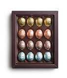 chocolate eggs in box