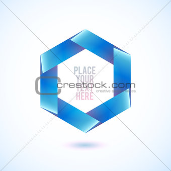 Blue hexagon shape on white background