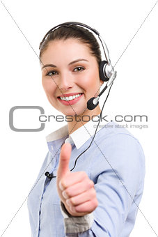 Portrait of smiling female  phone operator in ok gesture