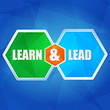 learn and lead in hexagons, flat design