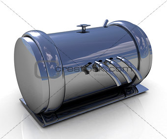 Abstract chrome metal pressure vessel