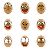 collection of eggs with happy face