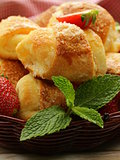 sweet muffins with strawberries and sugar - homemade pastries