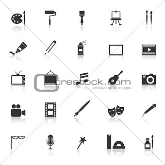 Art icons with reflect on white background