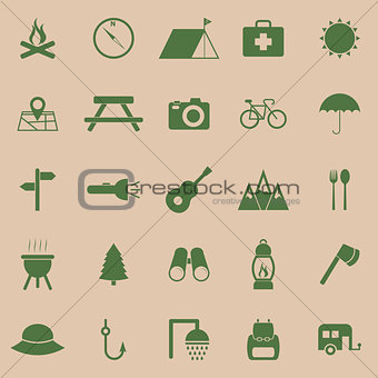 Camping color icons on brown background