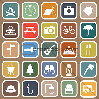 Camping flat icons on brown background