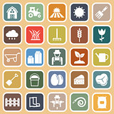 Farming flat icons on brown background