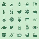 Spa color icons on green background
