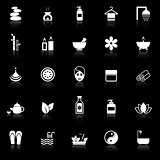 Spa icons with reflect on black background
