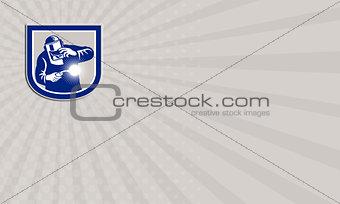 Welder Welding Torch Front Shield Retro Business card