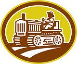 Farmer Drive Vintage Tractor Oval Retro