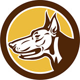 Doberman Pinscher Head Circle Retro