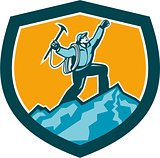 Mountain Climber Reaching Summit Retro Shield