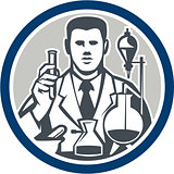 Scientist Lab Researcher Chemist Retro Circle