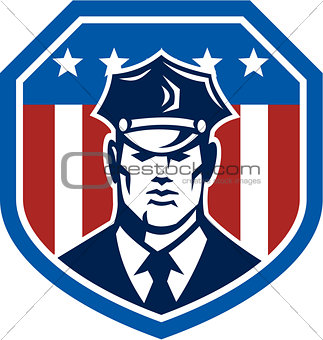 American Security Guard Flag Shield Retro