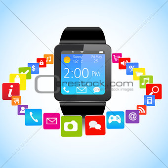 Smartwatch and Application Icons