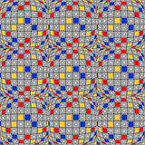 Design seamless colorful warped mosaic pattern