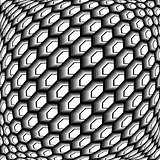 Design monochrome warped grid hexagon pattern