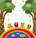 vector tree with funny owls cute art
