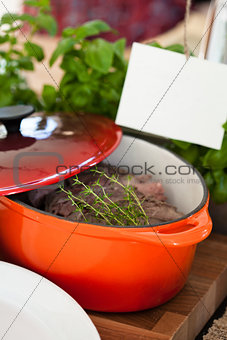 Pot of cooked beef