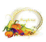 autumn vector background vegetable and fruits