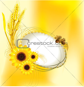 autumn design with sunflower and wheat