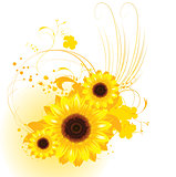 Orange background with sunflowers