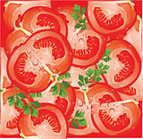 Vector seamless pattern with tomato