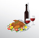 Tasty crispy roast turkey or hen and vegetables,and wine