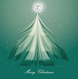 artistic christmas tree design on blue background
