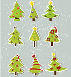 Set of Christmas trees on stickers