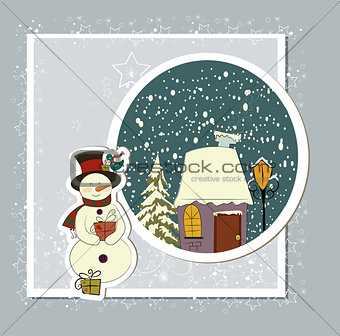 A cute Christmas card with a snowman