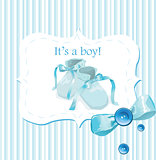 Blue baby shoes invitation card