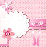 Card for greeting or congratulation with the pink bow