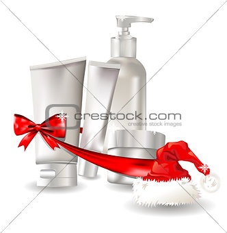 Cosmetic container gift set with santa hat