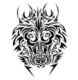 Wolf tribal tattoo style