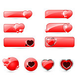 red valentine's  day buttons set