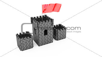 castle with flag