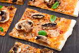 Vegetarian pizza with mushrooms