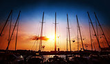 Sailboats on sunset