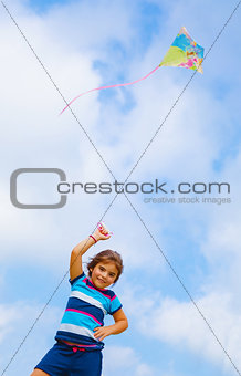 Baby girl play with kite