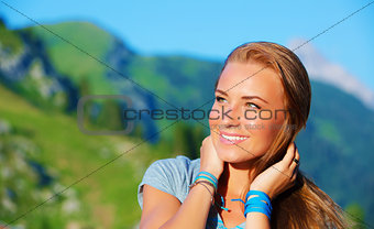 Portrait of woman in the mountains
