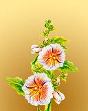 Hollyhock flowers. Watercolor painting.