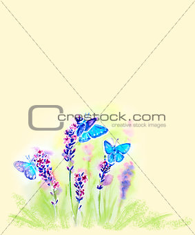 Painted watercolor card with summer lavender flowers and butterf