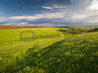 Beautiful rural landscape pictures in the sunny and cloudy weather