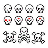 Kawaii cute Halloween skull icons set