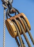Old wooden pulley on a ship in Lubeck